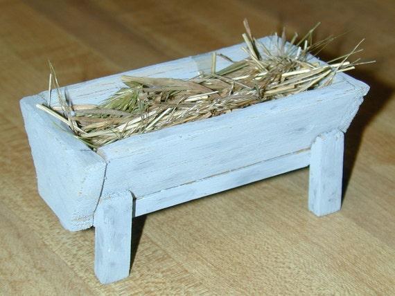 Miniature Manger for Christmas scene or Farm\/Western Dollhouse
