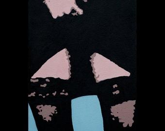 Original pop art oil painting, legs, Short black skirt