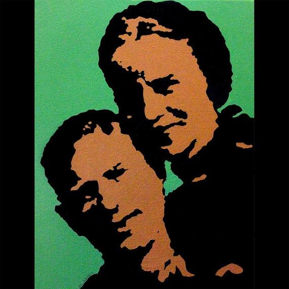 Bonnie and Clyde pop art style portrait painitng