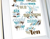 Numbers Poster Print in English with Animals, 11 X 14, Dark Blue/Light Blue/Teal/Gray Palette