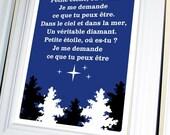French Nursery Rhyme Poster, Petite Etoile (Twinkle Twinkle Little Star ) 11 X 14, Cobalt Blue