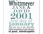 Wedding or Anniversary Date Keepsake Print Poster  - 11 X 14 Typography - Teal, Aqua, Blue