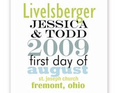 Wedding Poster, Custom Dates and Details - Can be Used for Anniversaries - 11 X 14 Typography - Green, Blue, Black
