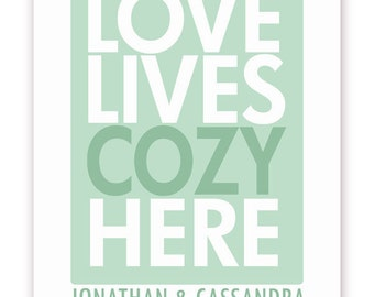 Personalized Love Lives Cozy Here Print - 11 X 14 Poster