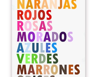 Colors in Spanish Poster, Colores en Espanol, Large 11 X 14