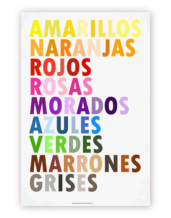 Items similar to colors in spanish poster colores en for Colors in spanish