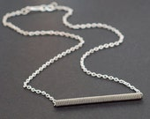 Guitar String Jewelry- Upcycled Silver Bar Necklace, Simple Necklace, Guitar String Necklace, Music Jewelry, Guitar Player Gift