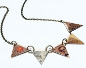 Reserved for Heather- Triangle Bunting Necklace Italian Lira Found Object Jewelry