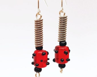 Guitar String Jewelry- Red and Black Polka Dot Bead Guitar String Earrings, Guitar Player Gift, Music Jewelry by Tanith Rohe