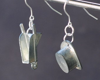 Monopoly Jewelry- Upcycled Game Token Earrings Top Hat & Wheelbarrow Earrings, Monopoly Earrings