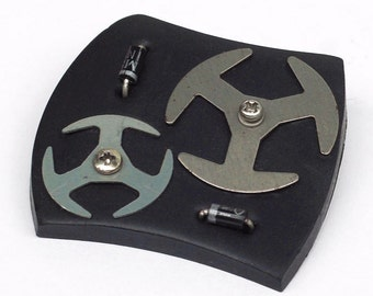Upcycled Industrial Brooch- Cyberpunk Jewelry, Black & Silver Jewelry Pin, Found Object Jewelry, Hardware Jewelry, Electronic Jewelry