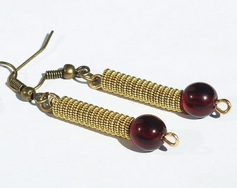 Guitar String Jewelry- Garnet Red Bead & Brass Upcycled Guitar String Earrings, Music Jewelry, Guitar Player Gift by Tanith Rohe