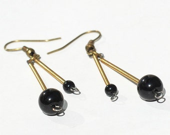 Guitar String Jewelry- Black Bead Brass Drop Upcycled Guitar String Earrings, Guitar Jewelry, Guitar Player Gift, Music Jewelry
