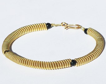 Guitar String Bracelet- Black Bead and Brass Upcycled Guitar String Jewelry, Music Jewelry, Acoustic Guitar Jewelry, Guitar Player Gift
