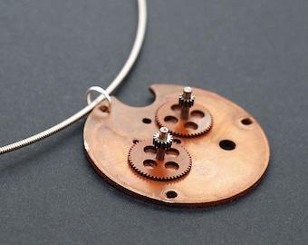 Guitar String Steampunk Jewelry- Copper Clock Part Industrial Necklace, Steampunk Necklace, Guitar String Necklace, Guitar Player Gift