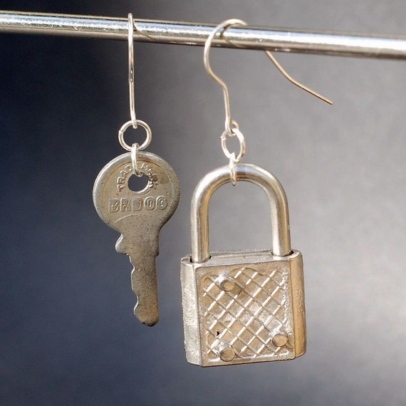 Reserved listing for weaselandfitz-Found Object Jewelry- Padlock and Key Earrings