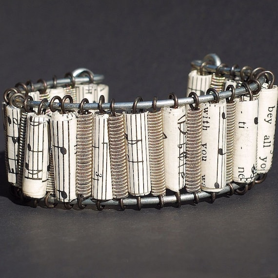 guitar string bracelet- sheet music paper bead cuff