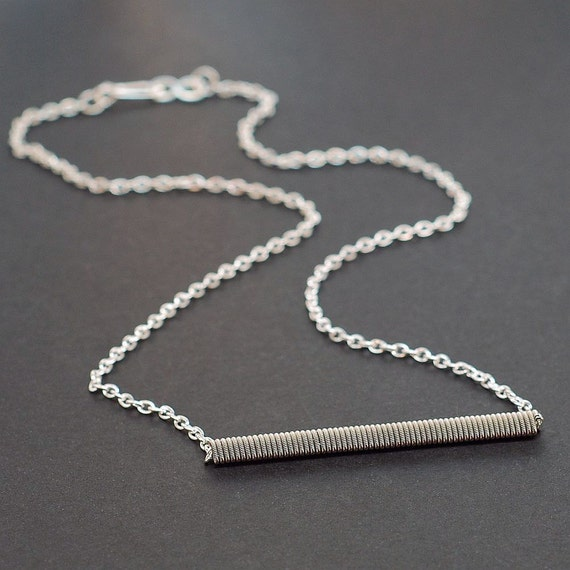guitar string jewelry upcycled silver bar necklace simple. Black Bedroom Furniture Sets. Home Design Ideas