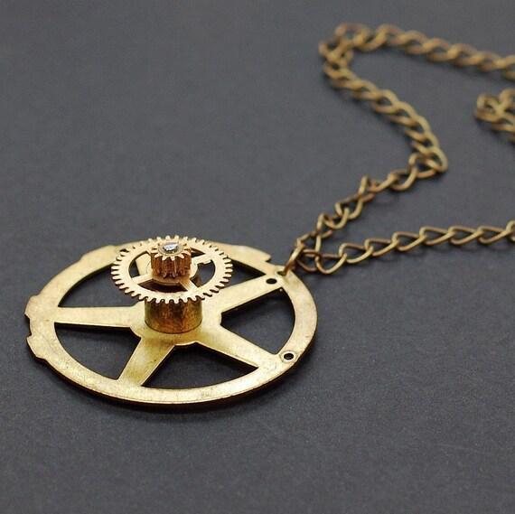 Steampunk Necklace- Brass Gear Jewelry Industrial Pendant