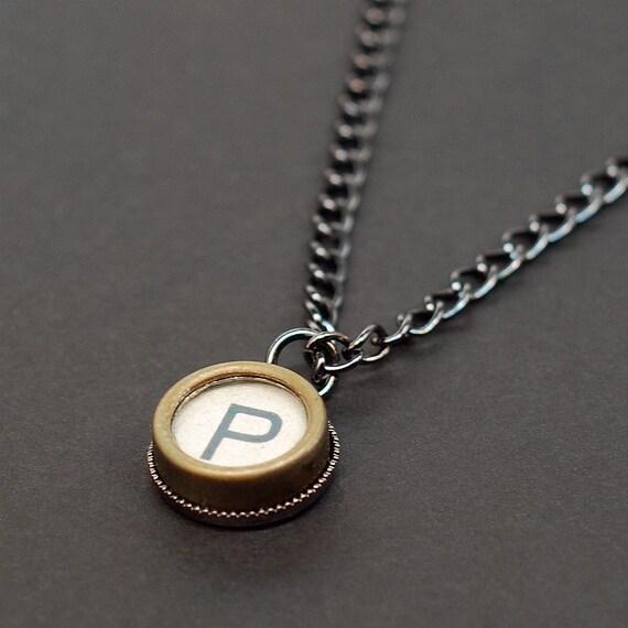 Typewriter Key Necklace Letter P Steampunk Jewelry