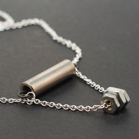 Silver Bar & Hardware Necklace- Found Object Jewelry