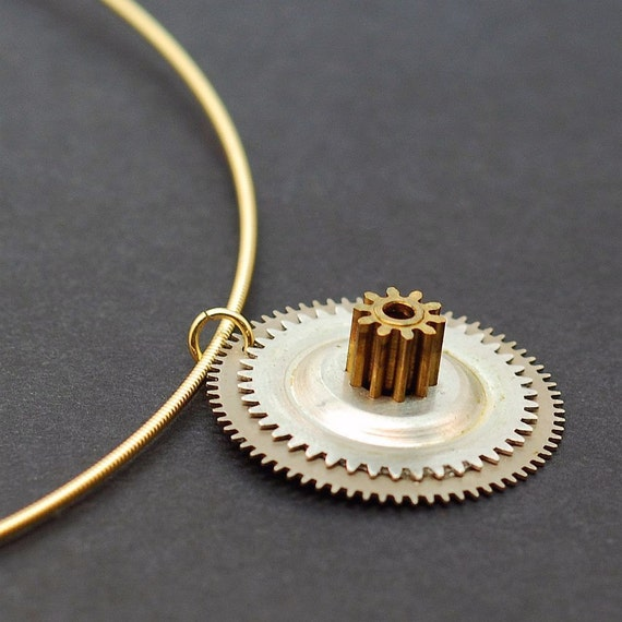 Guitar String Steampunk Jewelry- Silver & Brass Clock Gear Necklace
