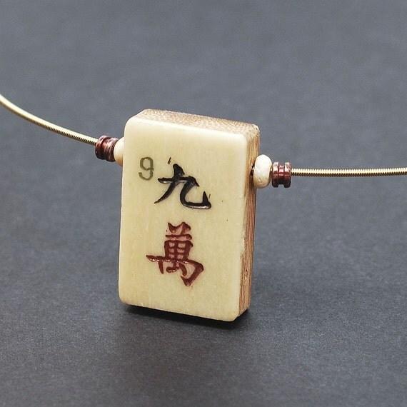Mahjong Tile Necklace- Guitar String Jewelry Choker