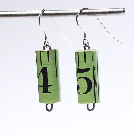 Tape Measure Earrings- Upcycled Green Ruler Jewelry, Found Object Jewelry, Sewing Jewelry, Gift for Sewer by Tanith Rohe