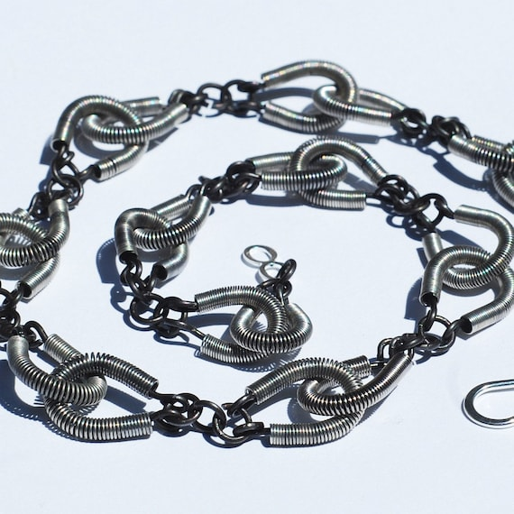 guitar string jewelry annealed steel upcycled guitar by tanith. Black Bedroom Furniture Sets. Home Design Ideas