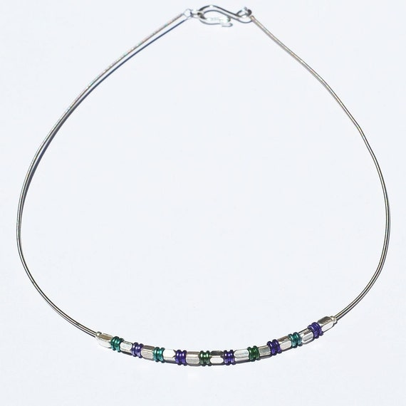 Guitar String Jewelry- Purple and Green Ball End Choker