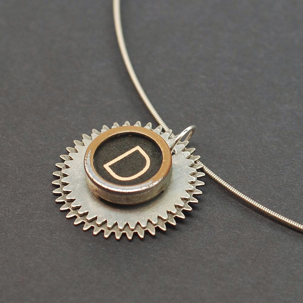 typewriter key necklace letter d guitar string steunk