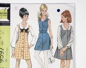 Vintage McCall's young junior teen pattern 9597 size 5/6 peterpan collar teen dress or jumper with blouse 1968
