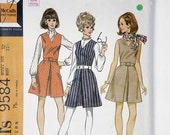Vintage McCall's Misses' Jumper or Dress, Blouse and Scarf size 10 Bust 32 1/2 pattern 9584 date 1968