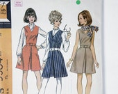 Vintage McCall's Misses' Jumper or Dress, Blouse and Scarf size 16 Bust 38 pattern 9584 date 1968