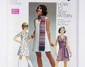 Vintage Simplicity Junior Petite size 11jp Bust 34 pattern 8613 Dress, Sash or Scarf 1969