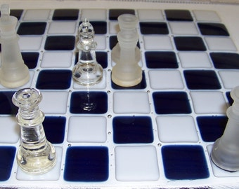 Chess Board bespoke with navy and white squares.  The chess pieces are not handcrafted by me but are included in this price.