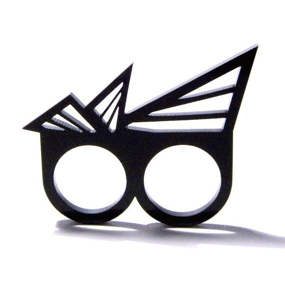 geometric triangle double two-finger acrylic ring (black)