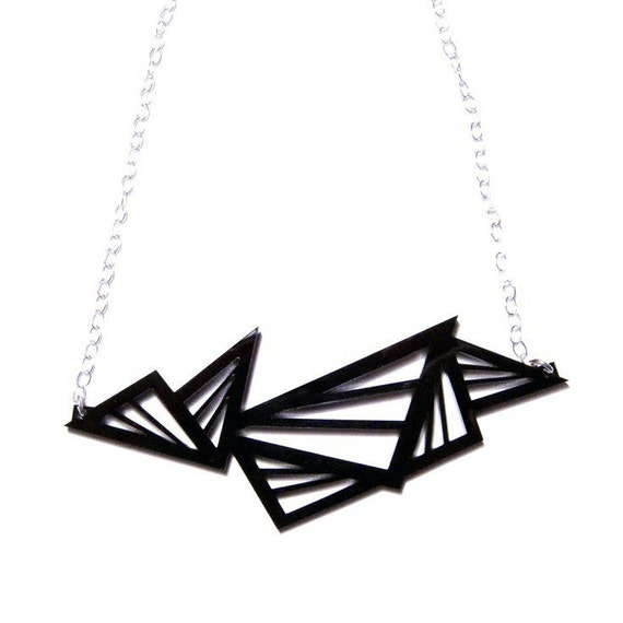 geometric abstraction triangle wide acrylic necklace