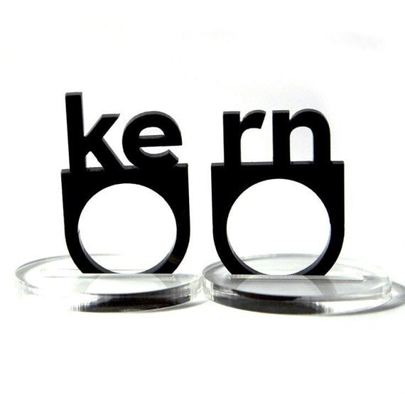 typographic kern acrylic ring set