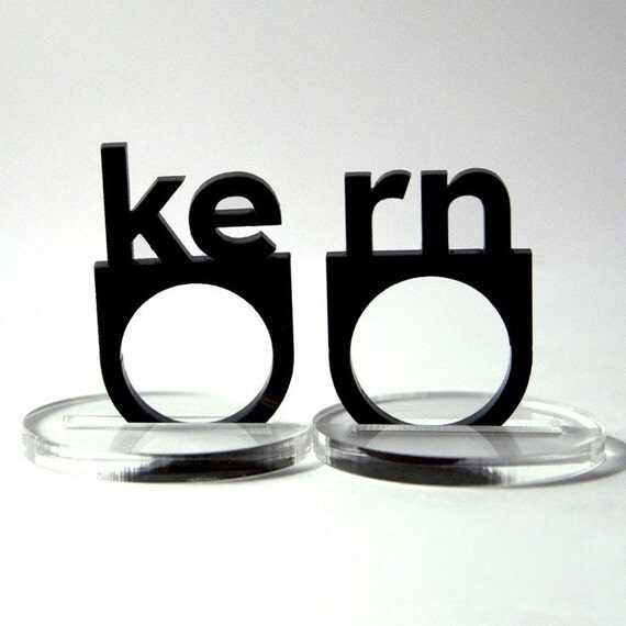 typographic kern acrylic ring set