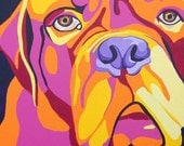 "8x11"" Archival Print of an original dog portrait- Psychedelic Mastiff"