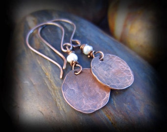 Wire Wrapped Pearls and Hammered Copper Earrings on Antiqued Copper Artisan Earwires - Wire Wrapped Jewelry Handmade - LADY SOPHIE