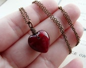 Deep inside your heart - Antiqued copper and dark red glass heart necklace