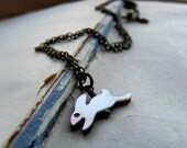 Slick little bunny - Antiqued brass and mother of pearl carved bunny necklace