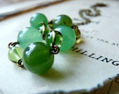 Reserved for Soyarra- Grow, Grow - Green glass and stone beaded necklace