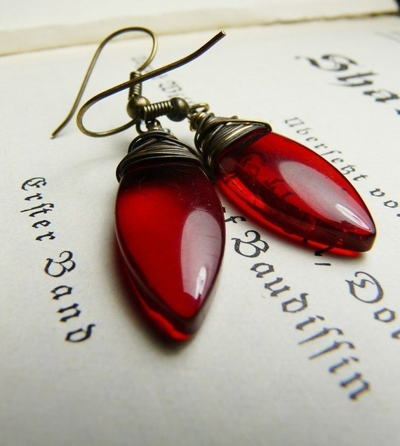 The Hunter - Red glass wire wrapped dagger earrings