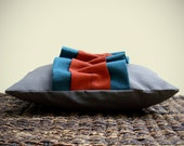 """Ruffle Linen PILLOW COVER Burnt Orange Teal Gray Charcoal - Stitching Detail - 10"""" x 16"""" by JillianReneDecor Ready to Ship Gift for Her"""