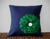 "Kelly Green Felt Flower Navy Blue Linen 16"" DESIGNER PILLOW COVER Ceramic Button Accent by JillianReneDecor Home Decor"