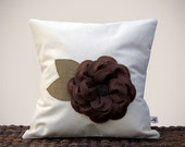 "16"" Cream PILLOW COVER Chocolate Brown Felt Flower Burlap Leaves Cottage Chic Home Decor by JillianReneDecor Gift for Her"
