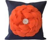 Coral Felt Flower PILLOW COVER in Navy Blue with White Ceramic Retro Button by JillianReneDecor Color Block Summer Home Decor Ready to Ship